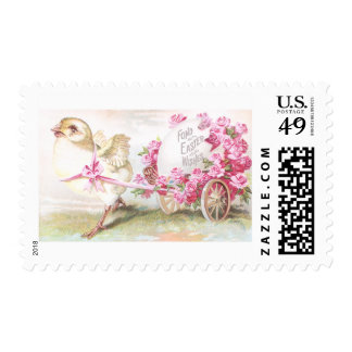 Chick Pulling Cart of Roses and Egg Vintage Easter Stamp