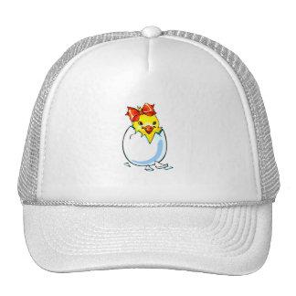 chick red ribbon hatching egg trucker hat
