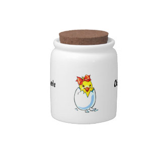 chick red ribbon hatching egg candy jars