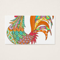 chick rooster bird design art colorful fun cool business card