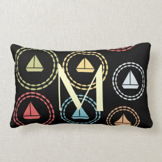 Chick Sailor Fun Sail Boat Pattern Monogram Lumbar Pillow