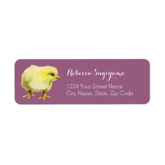 Chick Watercolor Painting Custom Label