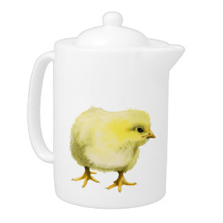 Chick Watercolor Painting Teapot