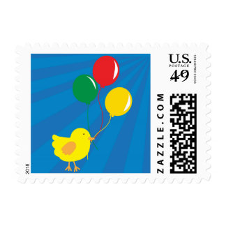 Chick with Balloons Postage