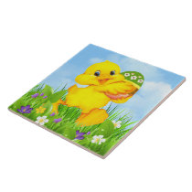 Chick with Easter Egg Ceramic Tile
