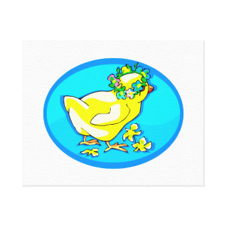 chick with flower crown blue oval canvas print