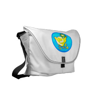chick with flower crown blue oval messenger bag