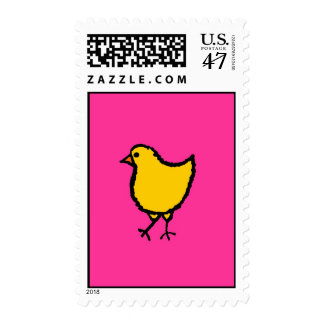 CHICK WITH HOT PINK BACKGROUND POSTAGE