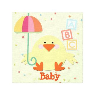 "Chick with Umbrella and ABC Blocks 12"" x 12"", 1.5"" Canvas Print"