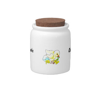 chick with worm eggshell flower candy jar