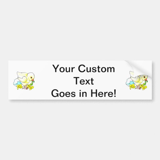 chick with worm eggshell flower car bumper sticker
