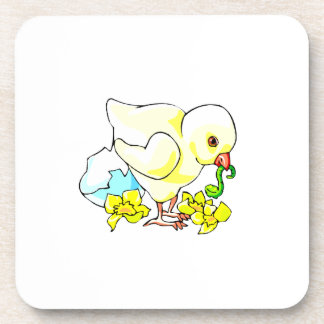 chick with worm eggshell flower drink coaster