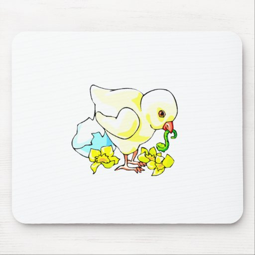 chick with worm eggshell flower mouse pad
