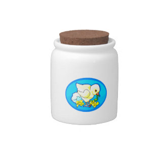 chick worm flowers blue oval candy jar