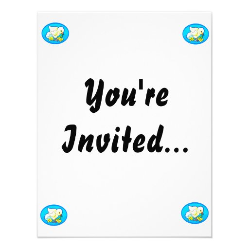 chick worm flowers blue oval custom invitations