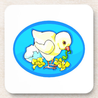 chick worm flowers blue oval drink coaster
