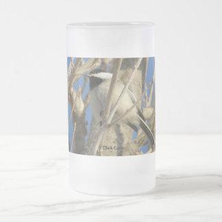 Chickadee #01 frosted glass beer mug