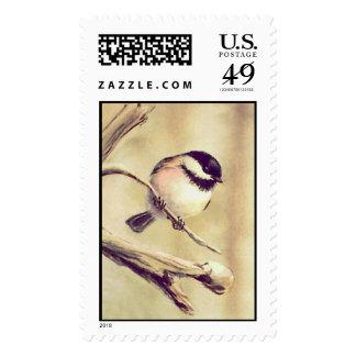 CHICKADEE 2 by SHARON SHARPE Postage Stamp