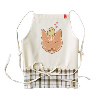 Chickadee and cat best friends apron