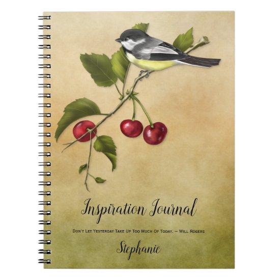 Chickadee and Cherries Inspiration Journal
