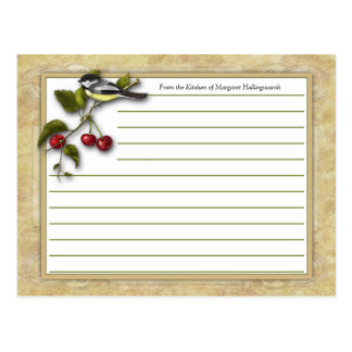 Chickadee and Cherries Recipe Cards