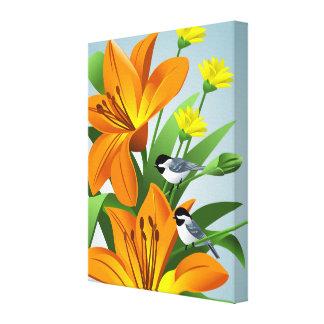 Chickadee and Flower Art Canvas Print