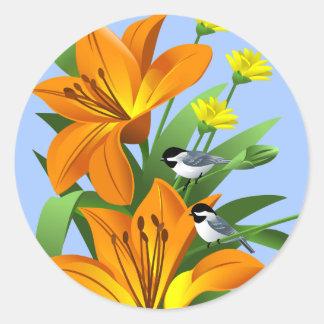 Chickadee and Flower Stickers