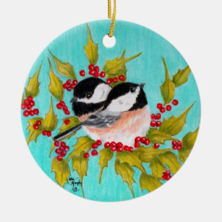Chickadee and Holly Ceramic Ornament