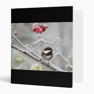 Chickadee and Red Berries in Winter 3 Ring Binders