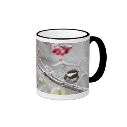Chickadee and Red Berries in Winter Ringer Coffee Mug