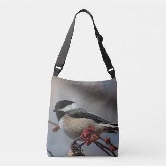 Chickadee and spring buds crossbody bag
