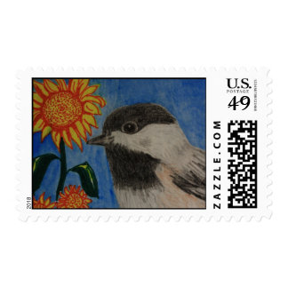 Chickadee and Sunflower Postage Stamp