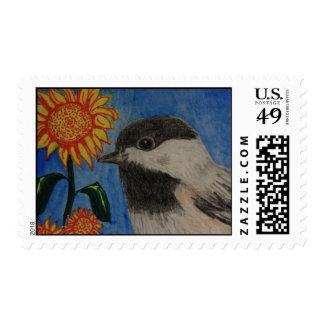 Chickadee and Sunflower Postage Stamp
