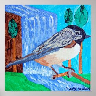 Chickadee and Waterfall Poster