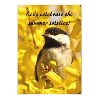 Chickadee and Yellow Flowers Summer Solstice Party