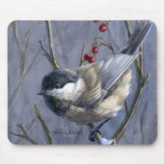 Chickadee & Berries Winter Snow Mouse Pads