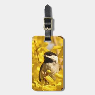 Chickadee Bird and Yellow Flowers Luggage Tag