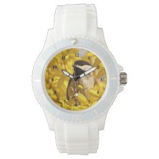 Chickadee Bird and Yellow Flowers Wrist Watch