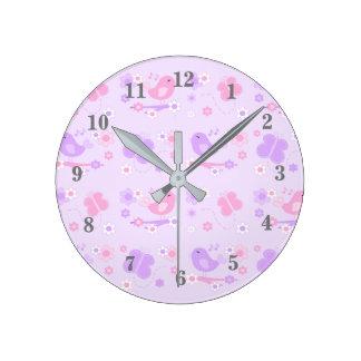 Chickadee Bird Butterfly Floral Purple Pink Round Clock