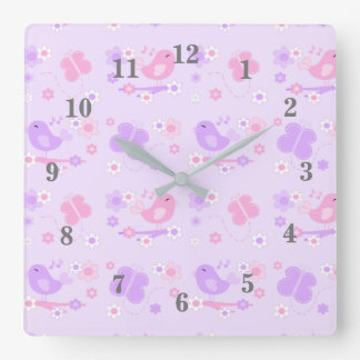 Chickadee Bird Butterfly Floral Purple Pink Square Wall Clock