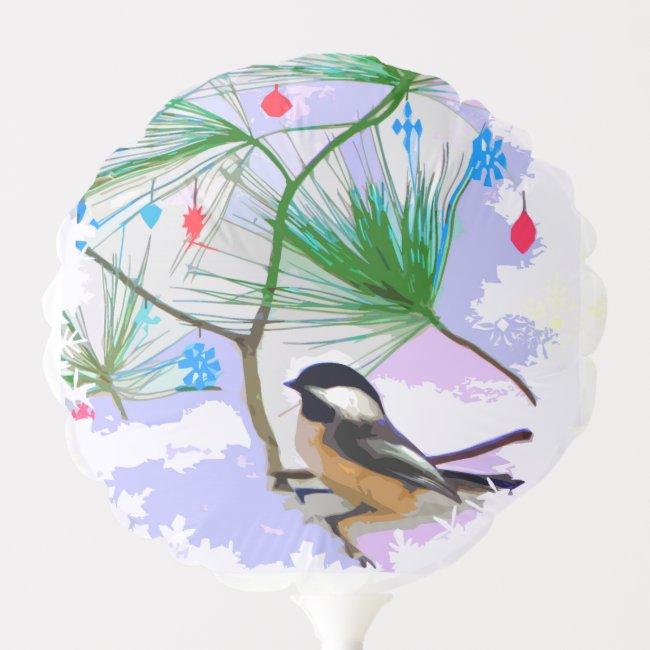 Chickadee Bird in Christmas Tree Animal Balloon