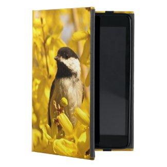 Chickadee Bird in Forsythia Flowers iPad Mini Case