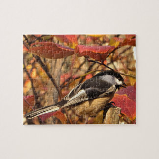 Chickadee Bird in Pink and Red Autumn Leaves Jigsaw Puzzle