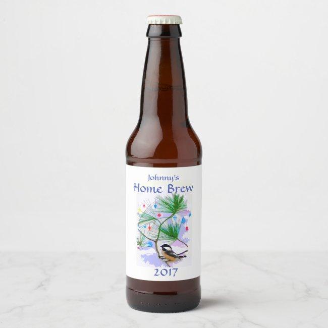 Chickadee Bird in Tree Beer Label