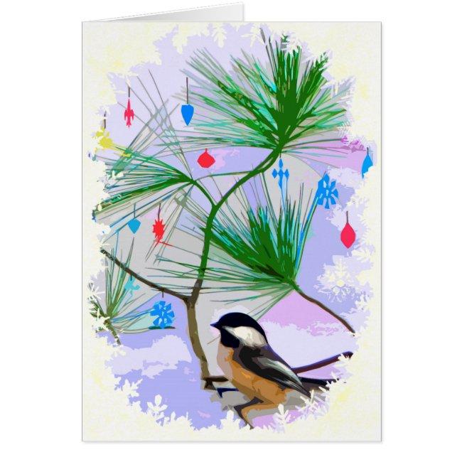Chickadee Bird in Tree Birthday Card