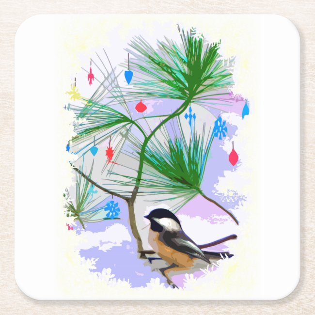 Chickadee Bird in Tree Coasters