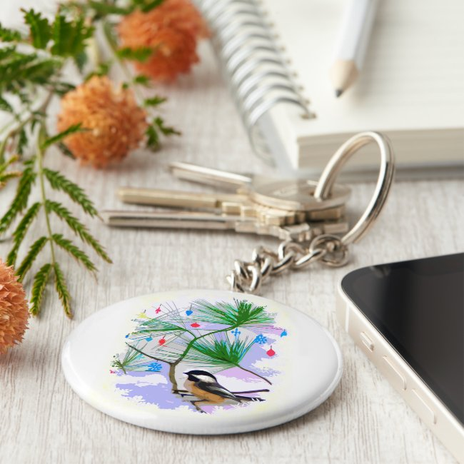 Chickadee Bird in Tree Keychain