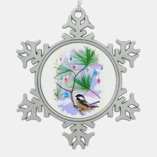 Chickadee Bird In Tree Pewter Snowflake Magnet Snowflake Pewter Christmas Ornament at Zazzle