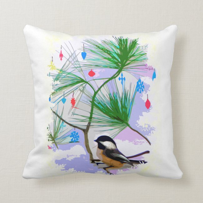 Chickadee Bird in Tree Pillow