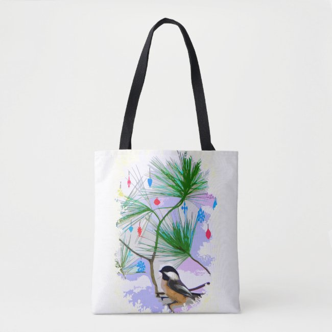 Chickadee Bird in Tree Tote Bag